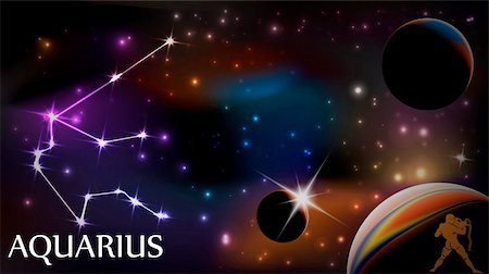 pokerman (artist) - Aquarius - Space Scene with Astrological Sign and copy space Stock Photo - Budget Royalty-Free & Subscription, Code: 400-04315451