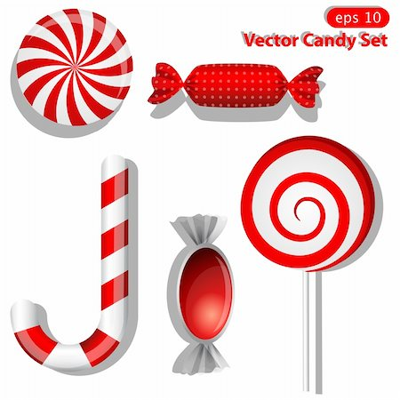 simsearch:400-04344039,k - Vector set with different red candies Stock Photo - Budget Royalty-Free & Subscription, Code: 400-04315932