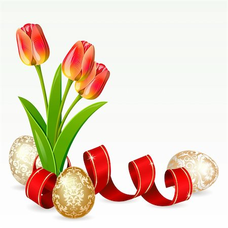 Easter background with egg decorated and flowers Stock Photo - Budget Royalty-Free & Subscription, Code: 400-04316500