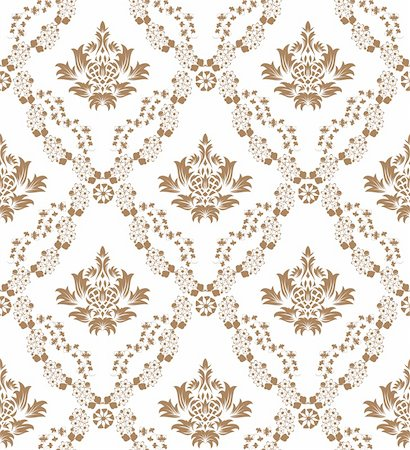 Damask seamless vector pattern.  For easy making seamless pattern just drag all group into swatches bar, and use it for filling any contours. Stock Photo - Budget Royalty-Free & Subscription, Code: 400-04317745