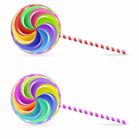 simsearch:400-04344039,k - Spiral rainbow lollipop - isolated on white background Stock Photo - Budget Royalty-Free & Subscription, Code: 400-04318129