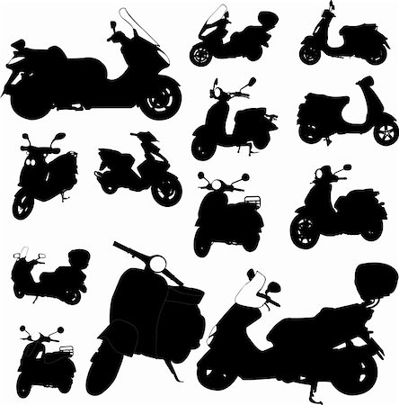 sports scooters - scooter motorcycle - vector Stock Photo - Budget Royalty-Free & Subscription, Code: 400-04318366