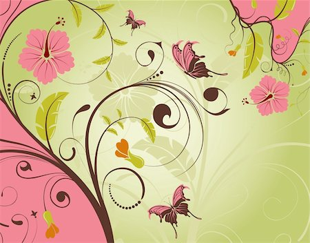 filigree designs in trees and insects - Decorative Floral frame with butterfly, vector illustration Stock Photo - Budget Royalty-Free & Subscription, Code: 400-04318469
