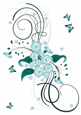 filigree designs in trees and insects - Decorative Floral theme with butterfly, vector illustration Stock Photo - Budget Royalty-Free & Subscription, Code: 400-04318472
