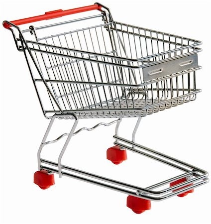 empty shopping cart - One shopping trolley isolated with clipping path Stock Photo - Budget Royalty-Free & Subscription, Code: 400-04318606