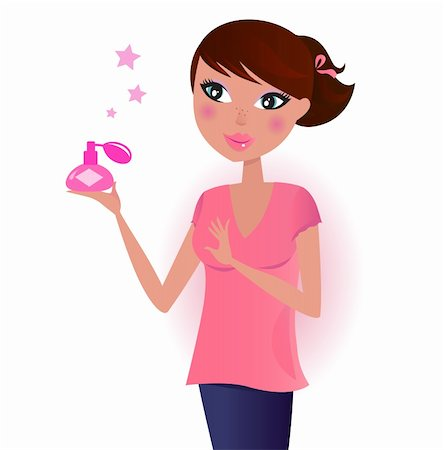 Happy young woman with perfume. Vector Illustration. Stock Photo - Budget Royalty-Free & Subscription, Code: 400-04319416