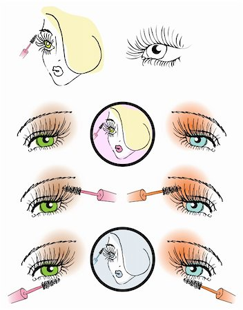 eye lash face woman cosmetic button make-up icons Stock Photo - Budget Royalty-Free & Subscription, Code: 400-04319800
