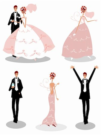 Group wedding people  Bride and groom icons set isolated on white Stock Photo - Budget Royalty-Free & Subscription, Code: 400-04319811