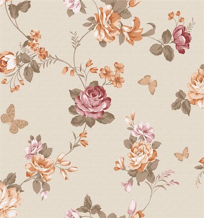 beautiful flower design Seamless pattern background Stock Photo - Budget Royalty-Free & Subscription, Code: 400-04310155