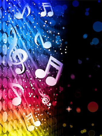 rainbow smoke background - Vector - Party Abstract Colorful Waves on Black Background with Music Notes Stock Photo - Budget Royalty-Free & Subscription, Code: 400-04310513