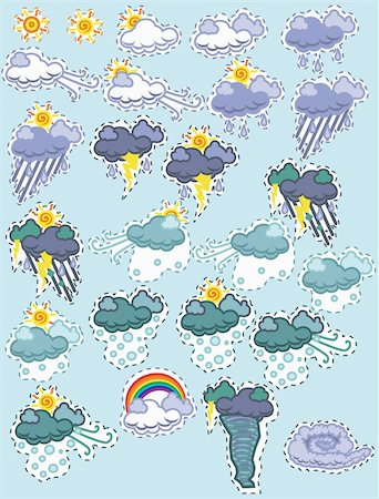 A set of weather icons in a fun patch style.    EPS8 graphic is scalable to any size. Stock Photo - Budget Royalty-Free & Subscription, Code: 400-04310757