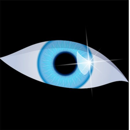pretty in black clipart - Human eye isolated on a black background. Vector illustration Stock Photo - Budget Royalty-Free & Subscription, Code: 400-04310816