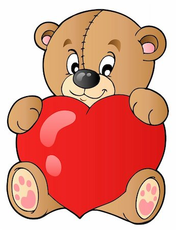 simsearch:400-04598294,k - Cute teddy bear holding heart - vector illustration. Stock Photo - Budget Royalty-Free & Subscription, Code: 400-04311429