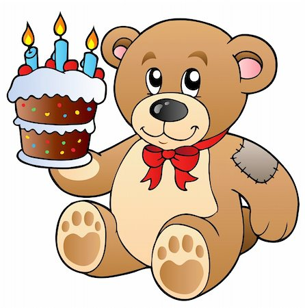 simsearch:400-04598294,k - Cute teddy bear with cake - vector illustration. Stock Photo - Budget Royalty-Free & Subscription, Code: 400-04311434