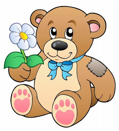 simsearch:400-04598294,k - Cute teddy bear with flower - vector illustration. Stock Photo - Budget Royalty-Free & Subscription, Code: 400-04311435
