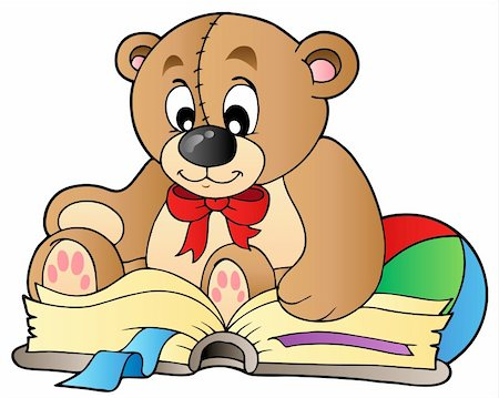 simsearch:400-04598294,k - Cute teddy bear reading book - vector illustration. Stock Photo - Budget Royalty-Free & Subscription, Code: 400-04311432