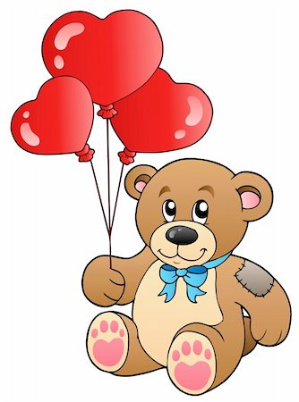 simsearch:400-04598294,k - Cute teddy bear with balloons - vector illustration. Stock Photo - Budget Royalty-Free & Subscription, Code: 400-04311433