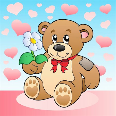 simsearch:400-04598294,k - Teddy bear with flower and hearts - vector illustration. Stock Photo - Budget Royalty-Free & Subscription, Code: 400-04311453