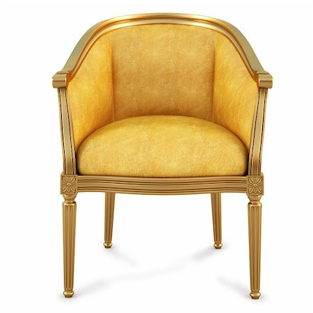 golden chair with yellow skin. isolated on white. with clipping path. Stock Photo - Budget Royalty-Free & Subscription, Code: 400-04311859