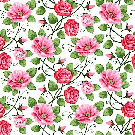 Vector roses seamless pattern on white, repeating design. Stock Photo - Budget Royalty-Free & Subscription, Code: 400-04312145