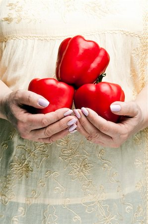 pimento - Housewife holding bunch of pimento Stock Photo - Budget Royalty-Free & Subscription, Code: 400-04312166