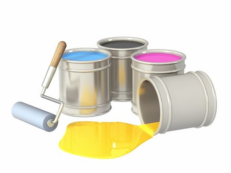 pouring paint art - Palette CMYK. Objects isolated over white Stock Photo - Budget Royalty-Free & Subscription, Code: 400-04312334