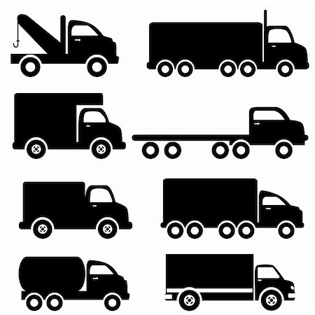 soleilc (artist) - Various truck silhouettes in black Stock Photo - Budget Royalty-Free & Subscription, Code: 400-04312386