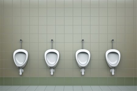 Row of four urinals. 3D rendered image. Stock Photo - Budget Royalty-Free & Subscription, Code: 400-04312438