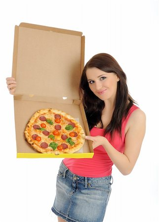 fat italian woman - Pretty young casual girl with tasty pizza in delivery paper box. isolated on white background Stock Photo - Budget Royalty-Free & Subscription, Code: 400-04312751