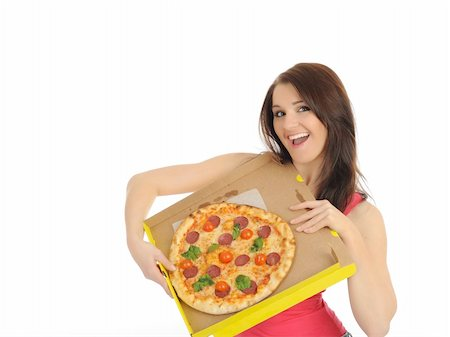 fat italian woman - Pretty young casual girl with tasty pizza in delivery paper box. isolated on white background Stock Photo - Budget Royalty-Free & Subscription, Code: 400-04312753
