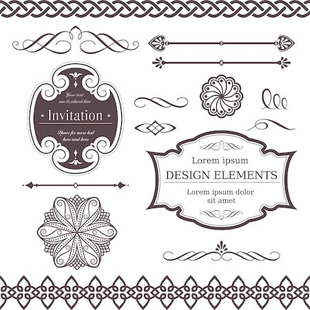 Set of ornate vector frames, ornaments and dividers. Perfect to embellish your designs, invitations, or announcements. Stock Photo - Budget Royalty-Free & Subscription, Code: 400-04313163
