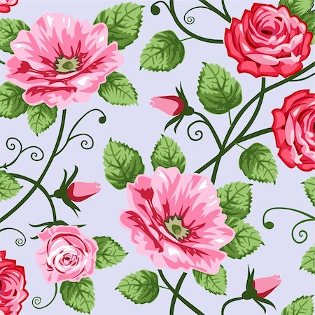 Pink roses on blue background, vector repeating seamless pattern, full scalable vector graphic for easy editing and color change. Stock Photo - Budget Royalty-Free & Subscription, Code: 400-04313714