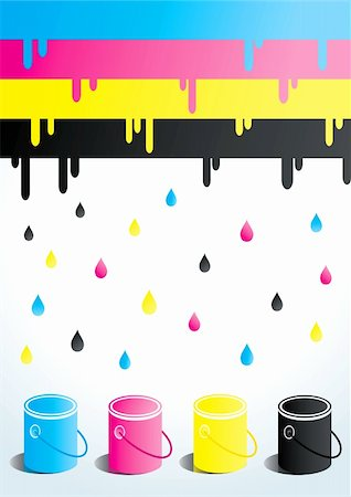 paint dripping abstract pattern - Four cans of paint in four colors Stock Photo - Budget Royalty-Free & Subscription, Code: 400-04324178
