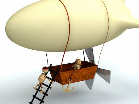 3d cartoon dirigible balloon with wood mans Stock Photo - Budget Royalty-Free & Subscription, Code: 400-04324545