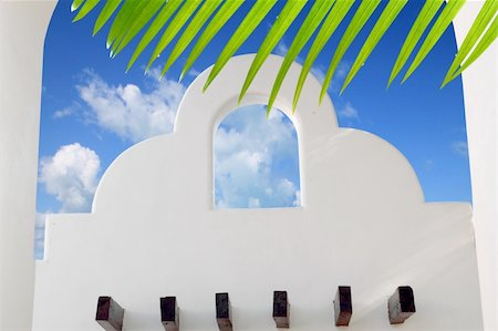 Mexican architecture white archs blue sky in Mayan Riviera Stock Photo - Budget Royalty-Free & Subscription, Code: 400-04325025