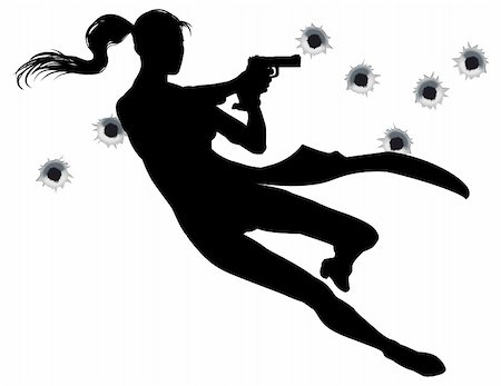 Female heroin leaping through the air in film style gunfight action sequence. Stock Photo - Budget Royalty-Free & Subscription, Code: 400-04325423