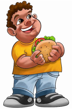 fat boy smiling and ready to eat a big hamburger Stock Photo - Budget Royalty-Free & Subscription, Code: 400-04325738