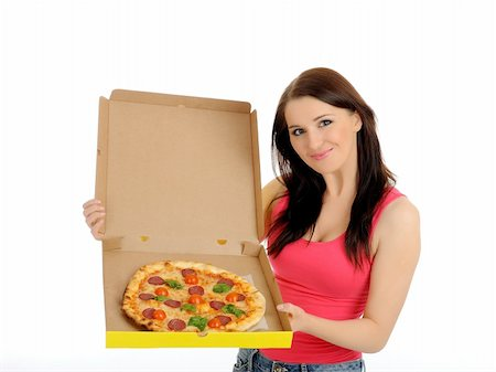 fat italian woman - Pretty young casual girl with tasty pizza in delivery paper box. isolated on white background Stock Photo - Budget Royalty-Free & Subscription, Code: 400-04326439
