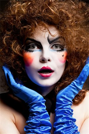 Woman mime with theatrical makeup. Studio shot. Stock Photo - Budget Royalty-Free & Subscription, Code: 400-04326975