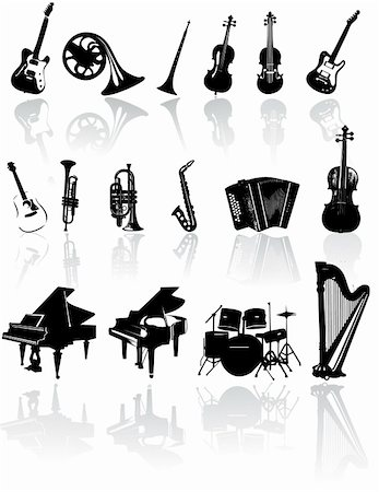 silhouette musical symbols - Music instrument vector Stock Photo - Budget Royalty-Free & Subscription, Code: 400-04327049