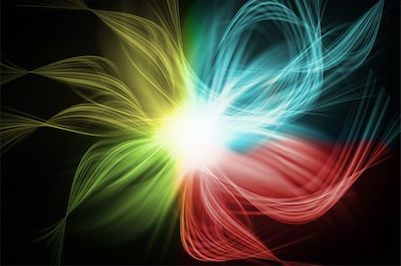 rainbow smoke background - Abstract waves isolated on black background Stock Photo - Budget Royalty-Free & Subscription, Code: 400-04328578
