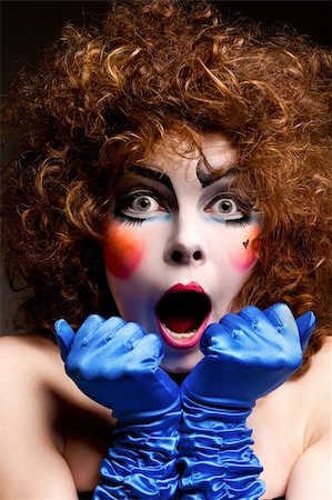 Woman mime with theatrical makeup. Studio shot. Stock Photo - Budget Royalty-Free & Subscription, Code: 400-04328768