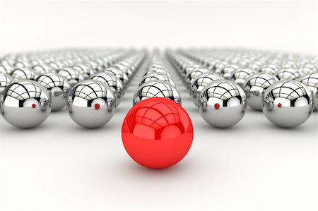 Leadership concept with red sphere and many chrome spheres and depth of focus effect Stock Photo - Budget Royalty-Free & Subscription, Code: 400-04328830
