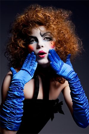 Woman mime with theatrical makeup. Studio shot. Stock Photo - Budget Royalty-Free & Subscription, Code: 400-04328952