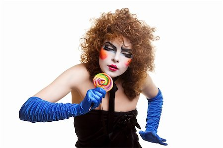 Woman mime with theatrical makeup. Studio shot. Stock Photo - Budget Royalty-Free & Subscription, Code: 400-04329056