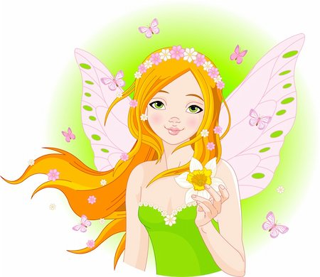 face woman beautiful clipart - Illustration of beautiful spring fairy with narcissus Stock Photo - Budget Royalty-Free & Subscription, Code: 400-04329083