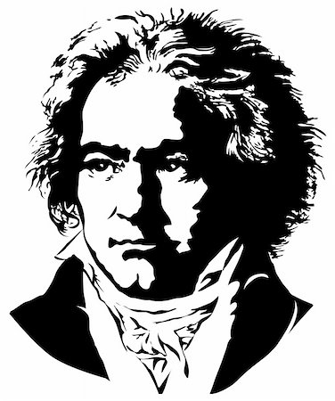 silhouette musical symbols - Portrait of a German pianist and composer Ludwig van Beethoven Stock Photo - Budget Royalty-Free & Subscription, Code: 400-04329719