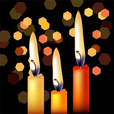 Three festive candles on night black background Stock Photo - Budget Royalty-Free & Subscription, Code: 400-04329891