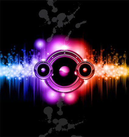 High Tech Futuristic Music Disco Background with glowing Rainbow lights Stock Photo - Budget Royalty-Free & Subscription, Code: 400-04320041