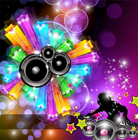 Music Disco Flyer for Dancing Event Posters with Rainbow Colours Stock Photo - Budget Royalty-Free & Subscription, Code: 400-04320065